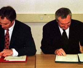 File Pics The Good Friday Agreement was agreed 15 years ago. L TO R. Taoiseach and Fianna Fail leader Bertie Ahern and British Prime Minister Tony Blair at Castle Buildings signing the peace agreenment that will allow the people of Northern Ireland to decide their future. 10/4/1998 Pic Photocall Ireland